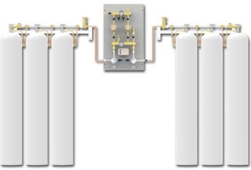 Rozprężalnia butlowa - Panel zasilania - Hydro Gaz Med PNEUMAT I silanie Rezerwa Panel zasilania