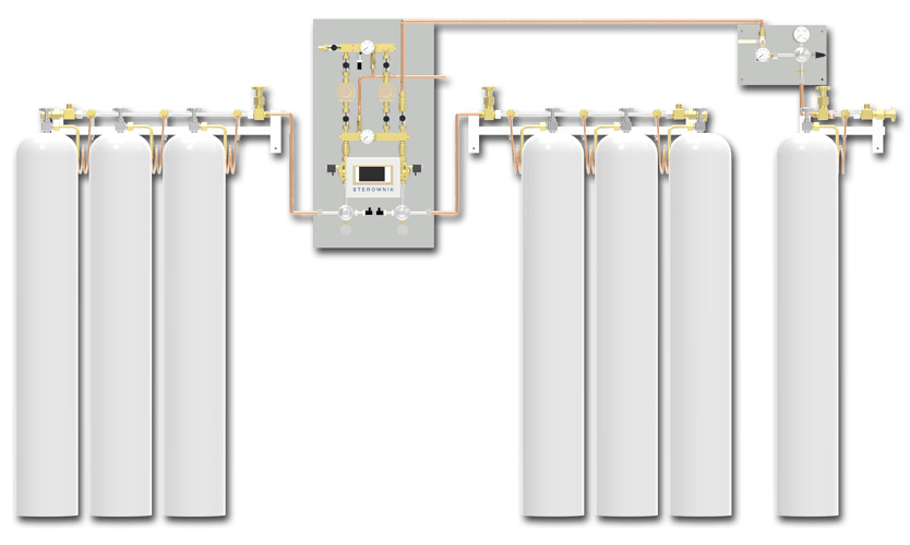 Switchover system PNEUMAT 2 – central supply panel ensures a continuous supply of medical gases