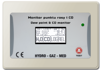 Dew point and CO monitor humidity temperature compressed air